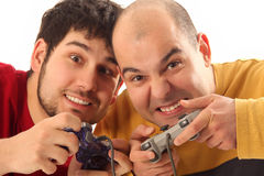 Men playing video game Stock Photos