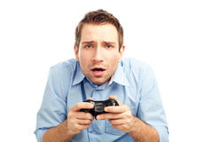 Men playing video games Royalty Free Stock Photo