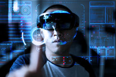 Men Playing Virtual Reality with Hololens with effects stock image