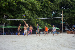 Men Playing Volleyball royalty free stock photos