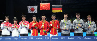 Men Podium at the Olympic Games 2016 Royalty Free Stock Photos