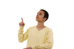 Men pointing to the copy space Stock Photo