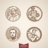 Men portrait medallion cook chief engraving retro vintage vector Stock Photos