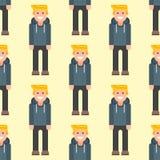 Men portrait seamless pattern friendship character team happy people. Men portrait seamless pattern friendship character team happy people young guy person Stock Photo