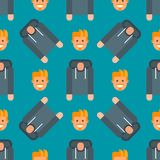 Men portrait seamless pattern friendship character team happy people young guy person vector illustration. Handsome teamwork casual fashion friends background Stock Images
