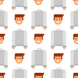 Men portrait seamless pattern friendship character team happy people young guy person vector illustration. Royalty Free Stock Photo