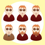 Men portraits. Vector isolated characters Stock Photo