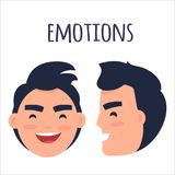 Men Positive Emotions Flat Vector Concept. Men positive emotions concept. Brunette male face in full face and profile with smiling facial expression flat vector Royalty Free Stock Photos