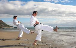 Men practicing Karate Stock Image