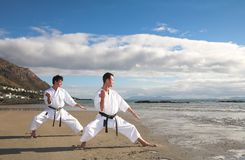 Men practicing Karate Stock Images
