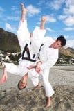 Men practicing Karate Stock Photo