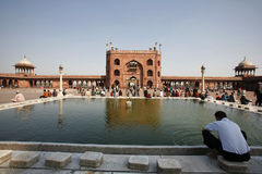 Men at prayer time at Jama Masjid Royalty Free Stock Photo
