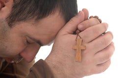 Men praying. Isolated on white background Royalty Free Stock Images