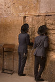 Men Praying at Wailing Wall - Old Jerusalem, Israel Stock Photos