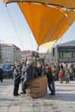 Men prepare a balloon for flight Stock Photography