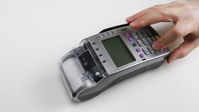 Man lieing on the floor pressing pos terminal buttons. Modern technologies for kids. Pos machine practice. Kids education stock video footage