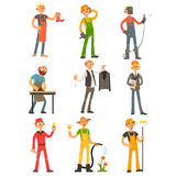 Men Profession Colourful Set. Men Profession, people with their working tools Colourful Vector Illustration Set Stock Images
