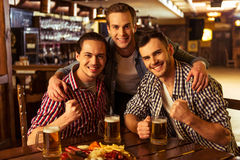 Men in pub. Three young men in casual clothes are smiling, looking at camera and holding glasses of beer while sitting in pub Stock Photo