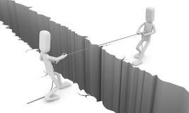 Men pull a rope. 3d image renderer stock illustration