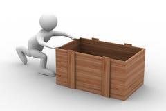 Men push box on white background. Isolated 3D image Royalty Free Stock Images