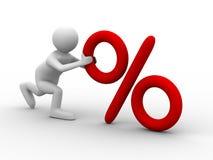 Men push percent on white background. Isolated 3D image Stock Photos
