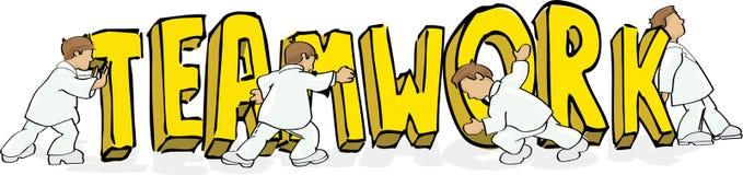 Men pushing teamwork word. Cartoon style illustration of four men pushing the word teamwork Stock Images