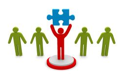 Men with puzzle piece. – conceptual image on white background Stock Images