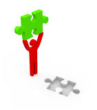 Men with puzzle piece. – conceptual image on white background Royalty Free Stock Photography