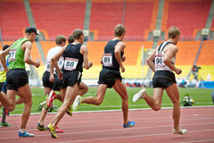 Men race at Grand Sports Arena of Luzhniki Royalty Free Stock Photography