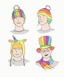 Men in rainbow hats. Royalty Free Stock Photo