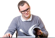 Men reading a book. With white background Stock Image