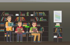 Students Reading Textbooks in Library Flat Vector. Men reading textbooks in library interior with bookshelves. Male students seating at the table and standing Stock Photo