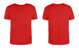 Free Men Red Blank T-shirt Template,from Two Sides, Natural Shape On Invisible Mannequin, For Your Design Mockup For Print, Isolated On Royalty Free Stock Photo - 157761535