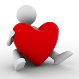 Men with red heart on white Stock Photo