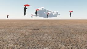 Men with red umbrellas. Arid land. Men with red umbrellas float above desert landscape. 3D rendering royalty free illustration