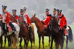 Men ride horses at Borodino Royalty Free Stock Images
