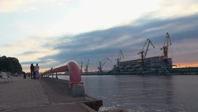 Men ride on roller skaters on seafront. Cargo port. River. Cranes. Containers. stock video