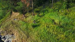 Men Riding Bicycle In Nature. Young male men in sportswear riding bicycle near forest stock video footage