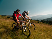 Men riding mountain bikes Royalty Free Stock Images