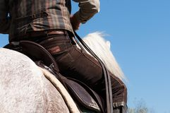 Men riding a white horse. low angle view royalty free stock photo