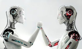Men robot vs women robot. In competition Stock Photography
