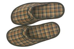 Men room slippers. Men room slippers on a white background Royalty Free Stock Images