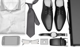 Men& x27; ropa y accesorios del negocio de s en el fondo blanco Imagen de archivo