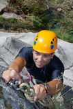 Men with rope for rappelling Royalty Free Stock Images