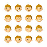 Men with rosy cheeks. Vector avatars and emoticons set Royalty Free Stock Photos