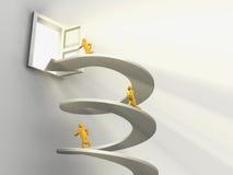 Men running on helix to open door Royalty Free Stock Images