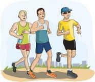 Men running marathon. Colorful humor illustration of men jogging Royalty Free Stock Photos