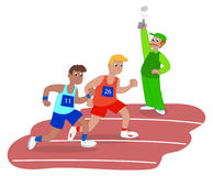 Men running in race vector. Athletes and starter on running race vector illustration Stock Images