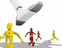 Men running for their lives. Crash test dummies running from a giant foot over a white background Royalty Free Stock Photos