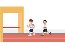Men running in to finishing line. Flat cartoon style  illustration Royalty Free Stock Images